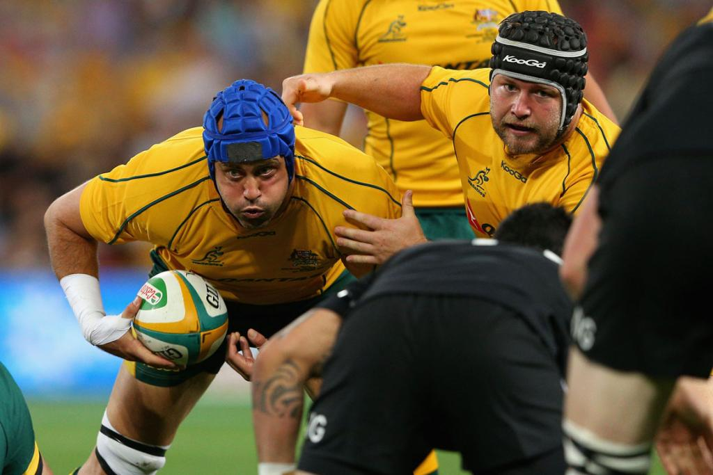Nathan Sharpe charges ahead for the Wallabies.