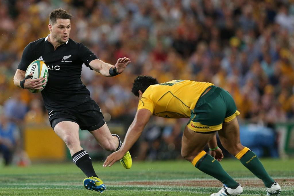 All Blacks wing Cory Jane looks to evade the Wallabies defence.