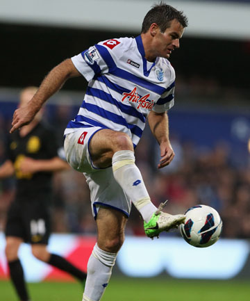 QPR: Ryan Nelsen in action for his EPL side in their draw with Everton.