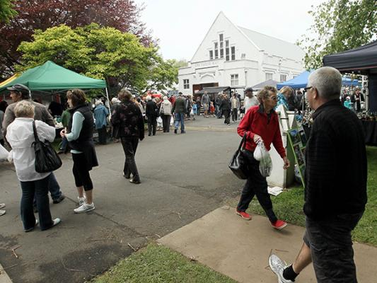 WALK IN THE PARK: The car park of St Andrew's Church was a hive of activity yesterday as people got out and about.