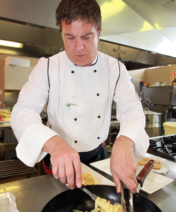 Chef Graeme Cawsey makes roasted chicken with asparagus, fresh pasta and hot lemon dressing.