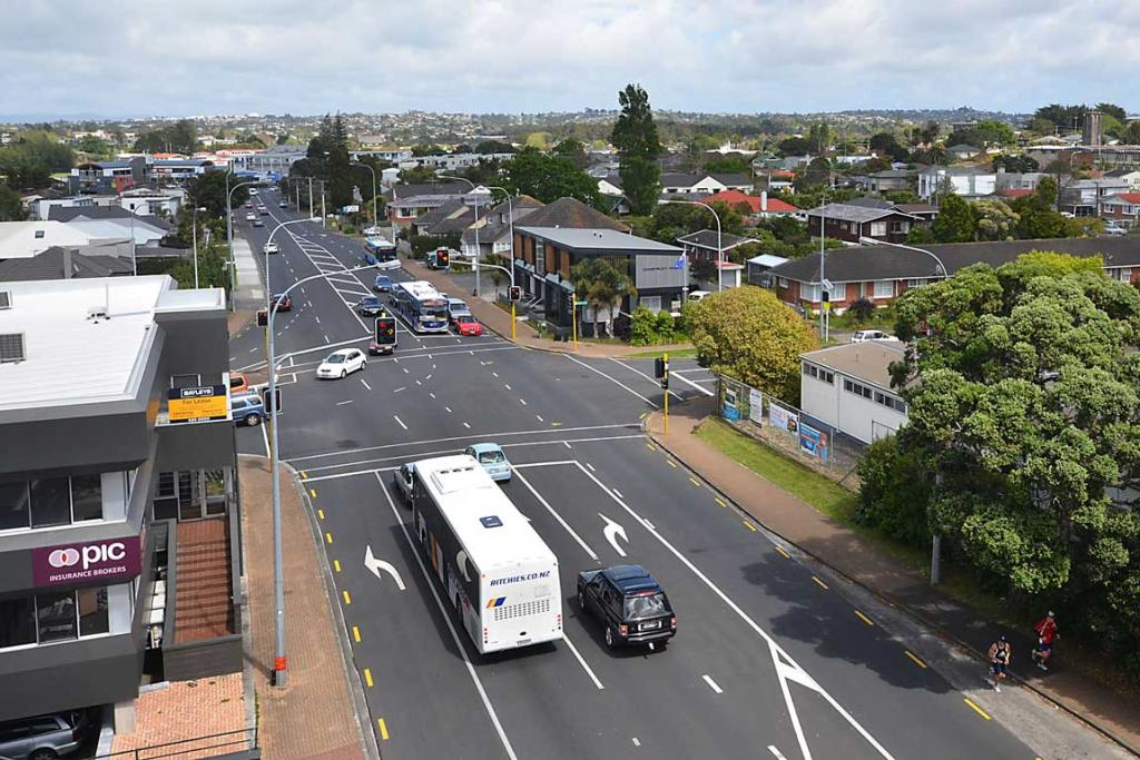 LOW RISE: A view down Anzac St West from Shore City.