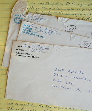 UNLIKELY INSPIRATION: Some of the letters sent to Jack Apsche from Gary Heidnik, who kidnapped and tortured a string of women in the 1980s, killing two.