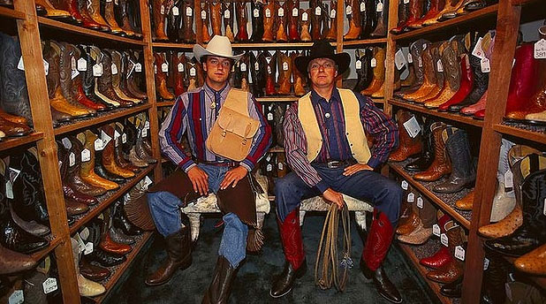 HAPPY CHAPS: Shopping for boots in Fort Worth.