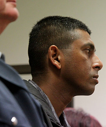 NOT GUILTY PLEA: Fijian-Indian Shanal Sajesh Kumar, 29, denies he murdered his lover, Indian-born Dipti Patel,  42, in the garage of her New Plymouth home three years ago.