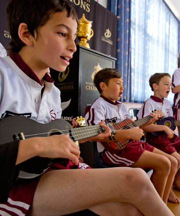 GO, GO, GO: Levi Timms, 8, and other ukulele players at Shannon sing their song about the All Blacks winning the Rugby World Cup.