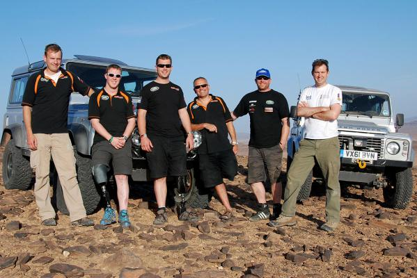 The Race2Recovery team during their remote desert training exercise in Morocco as part of their preparations for the 2013 Dakar Rally.