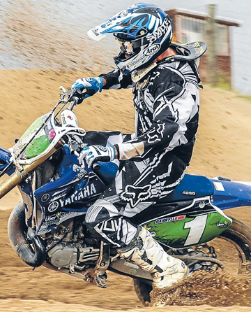 WINNING FORM: Darryll King shows the class that won him the MX2 class at the Taupo Motocross Extravaganza.