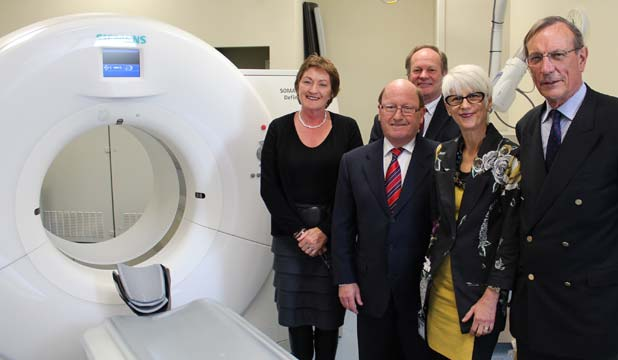 SHARED INTEREST: From left, Radiology boss Sally Urry, Lion Foundation chairman Mike Smith, health board deputy chief executive Ron Pearson, rear, and Pam Tregonning and John Maansall from Middlemore Foundation for Health Innovation.
