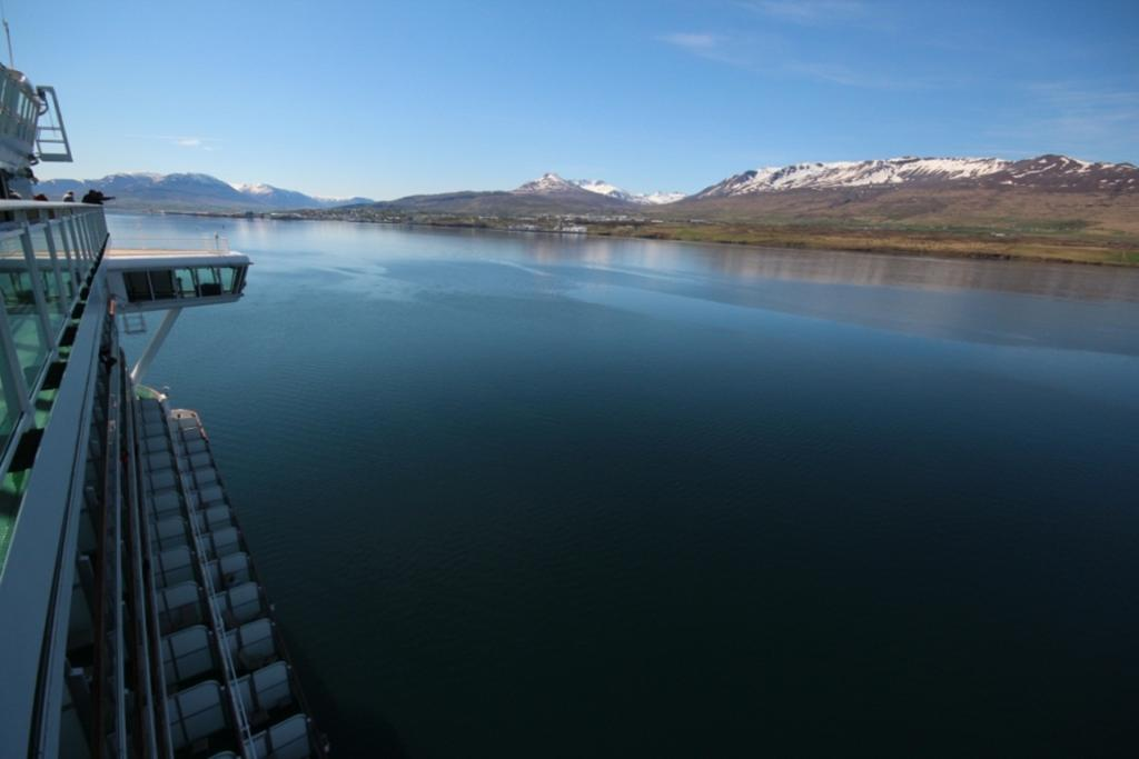 LAND HO!: The MV Ventura sailing into Akureyri, Iceland.