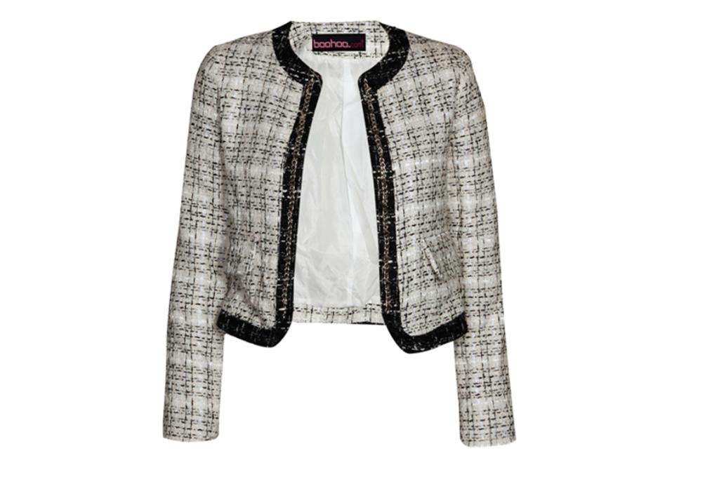"""Boucle jacket, $85 from Boohoo.co.nz. """"The stud detail gives this classic Chanel-inspired jacket an edgy twist."""""""