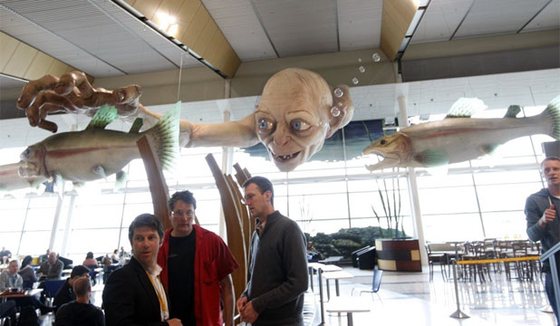 FLYING IN: A new sculpture for The Hobbit has been unveiled at Wellington Airport