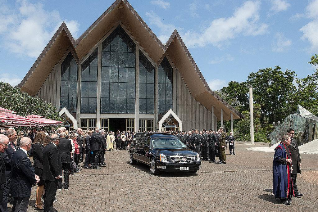 Sir Wilson Whineray is farewelled at Auckland's Holy Trinity Cathedral.