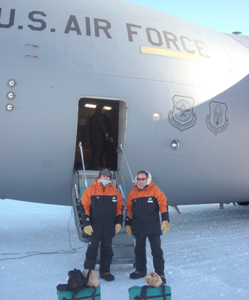 ON ICE: Bob Mortimer and Paul Manson getting ready to board the C-17 for their flight back to Christchurch.