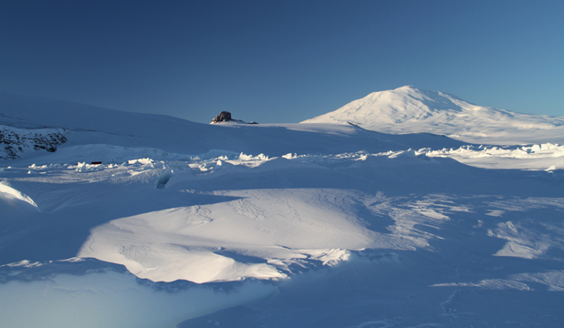 ON ICE: Castle Rock to the left and Mt Erebus taken at 9.30pm.