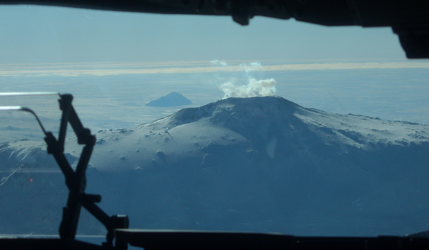 ON ICE: A view of Mt Erebus from the cockpit.