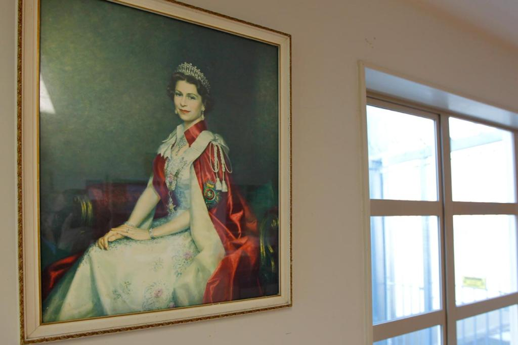 The Queen's portrait graces the guard room.