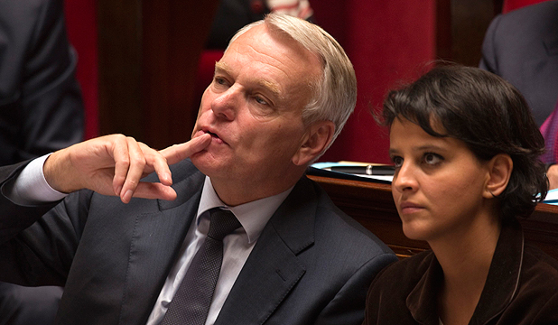 MUCH TO LEARN: France's Prime Minister Jean-Marc Ayrault (L) sits with the Minister for Women's Rights and Government Spokesperson Najat Vallaud-Belkacem.
