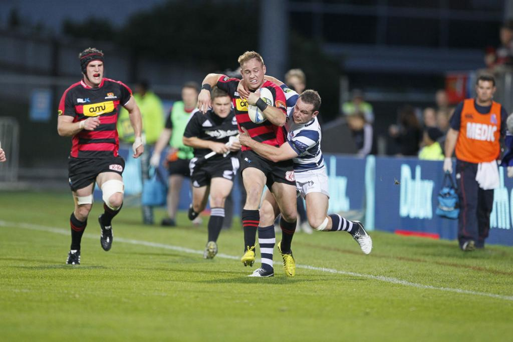 Canterbury's Andy Ellis is tackled.