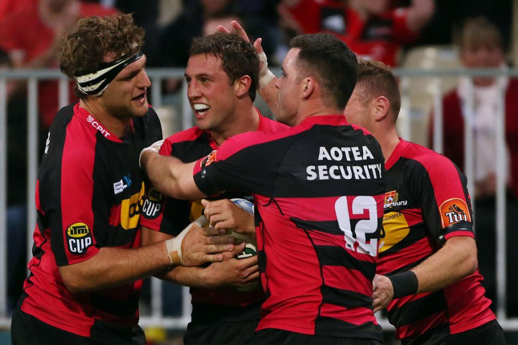 Canterbury celebrate their win against Auckland.