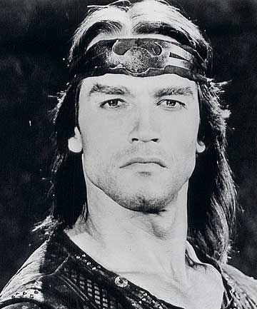 Actor Arnold Schwarzenegger is shown in a scene from the 1982 film Conan the Barbarian.