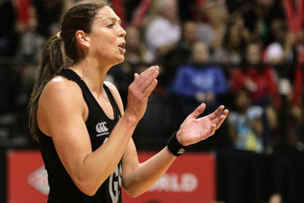 Irene Van Dyk cheers on the Silver Ferns.