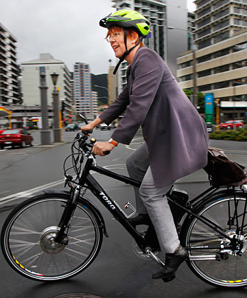 RIDING ON: Wellington Mayor Celia Wade-Brown on her   electrically assisted eZee Torq bike.