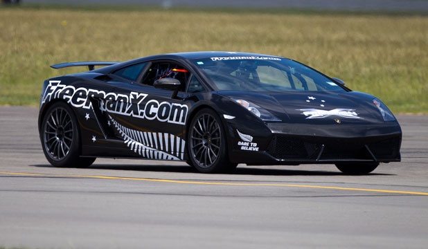 Eddie Freeman drives his Lamborghini Superleggera at Ohakea Air Base setting a new land speed record.
