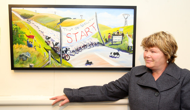 HUMOROUS: Tapanui artist Lynley van Alphen is showing 13 paintings inspired by farming and the Tour of Southland.
