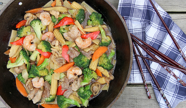 HAPPINESS IN A DISH: Happy family stir-fry.