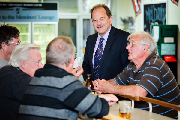 Meet the locals: Labour Party leader David Shearer on an impromptu visit to the Levin Cosmopolitan Club.