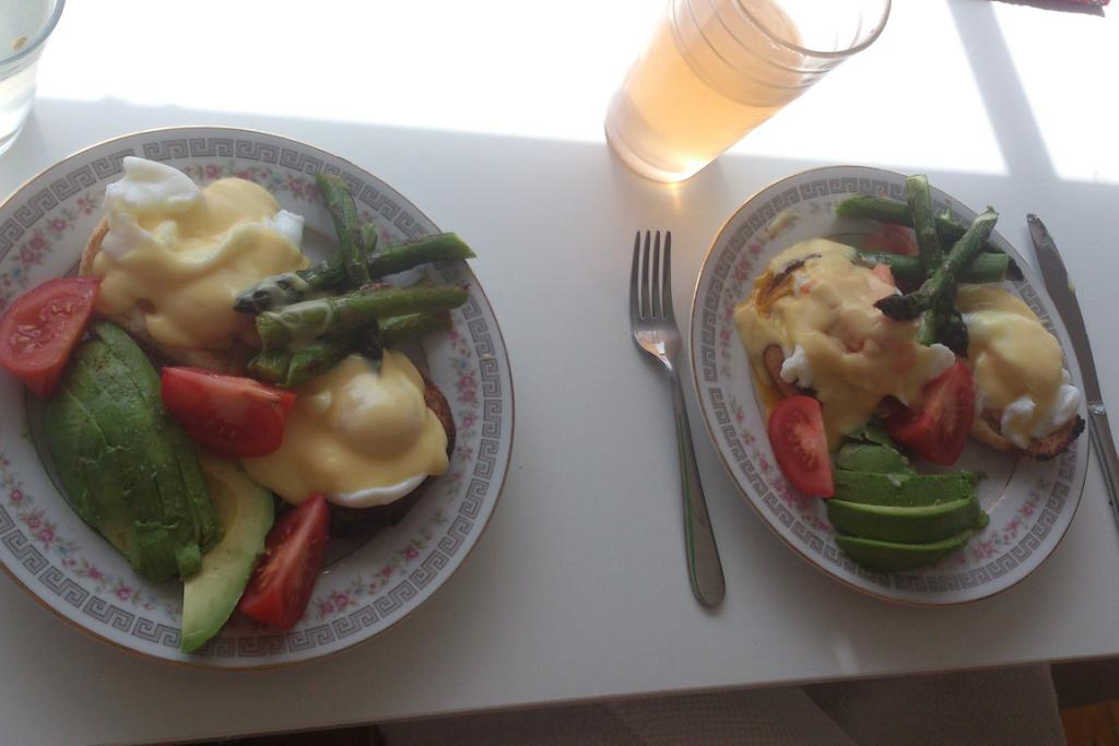 Spring version of eggs Benedict for breakfast at home.