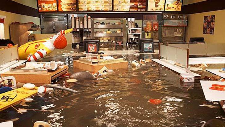 HIGH WATER: Fear not for your beloved Big Mac, it is actually from the 2009 film/art installation Flooded McDonald's.