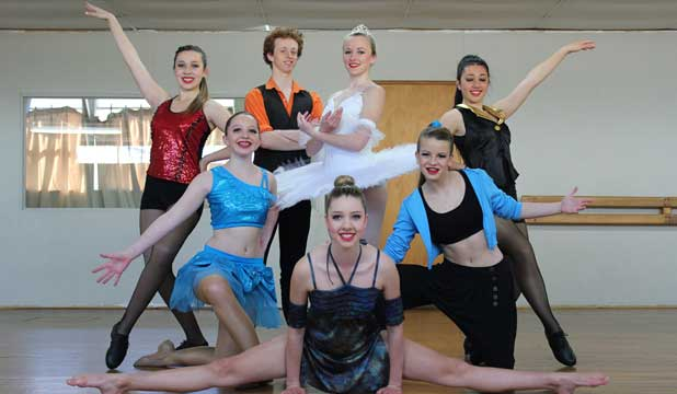 FOOTLOOSE: Stewart Dance Studios has produced some exceptional dancers including, clockwise from  front: Brook Cope, 15, Emma Porter, 14, Jennika Charlton, 15, Duncan Armstrong, 18, Georgia Elson, 18, Chantal Tuala, 15, and Emma Morris, 14and Brook Cope, 15.