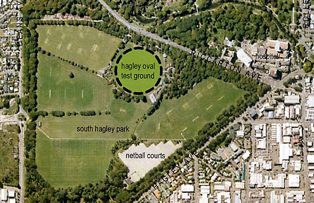 Hagley Oval: This graphic illustrates the scale of the proposed oval in relation to Hagley Park.