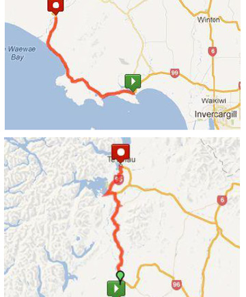 Tour of Southland map, stages 3 and 4