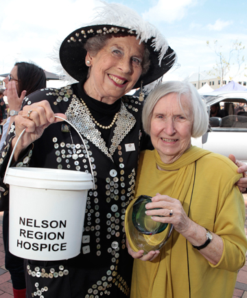 SHIRLEY SMILES: Pearly Queen Shirley Miles, left with  Nelson Region Hospice's Elspeth Kennedy