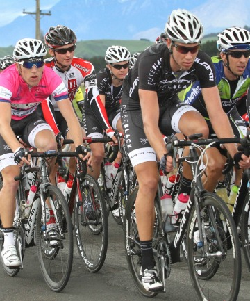 Riders in the main peloton coming toward Manapouri during the PowerNet Tour of Southland, day four, stage four.
