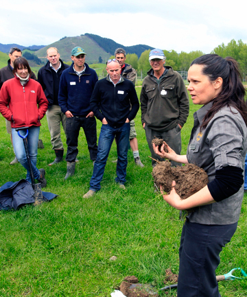 EARTHLY ADVICE: Nicole Masters speaks to farmers during a soil health field day.