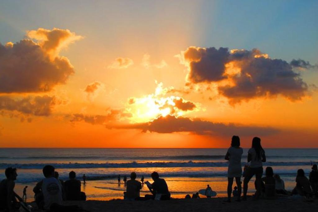Sunset on Kuta Beach, Bali.