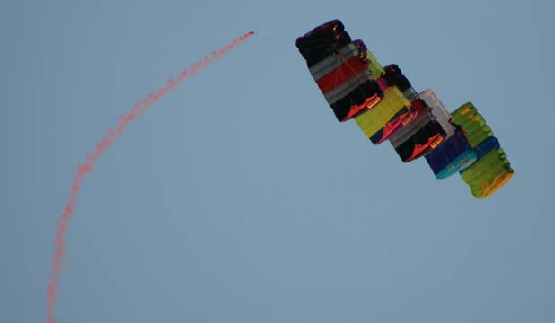 BIG DISPLAY: Parachutists woo the crowds with a five-stack formation above Kumeu Showgrounds.