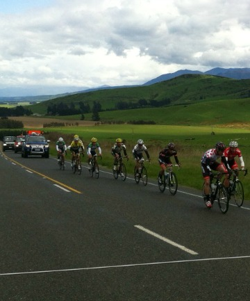The breakaway group of nine riders climbs the Jollies Pass during this morning's stage of the Tour of Southland.