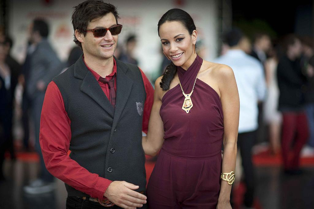 Clarke Gayford  and Shavaughn Ruakere arrive at the 2012 New Zealand Music Awards.
