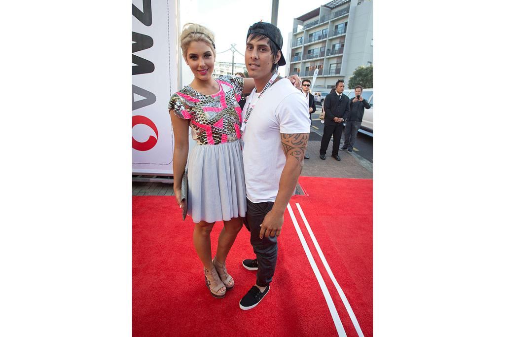Jaime Ridge and Tame Noema on the red carpet at the 2012 New Zealand Music Awards.