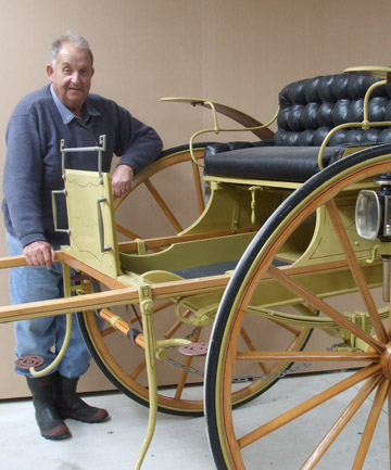LABOUR OF LOVE: Thornbury Vintage Tractor and Implement Club  president Vic Keen with a restored gig donated by Les Duston of Myross Bush. The Thornbury museum will be open on Sunday for a Southland Heritage Forum gathering.