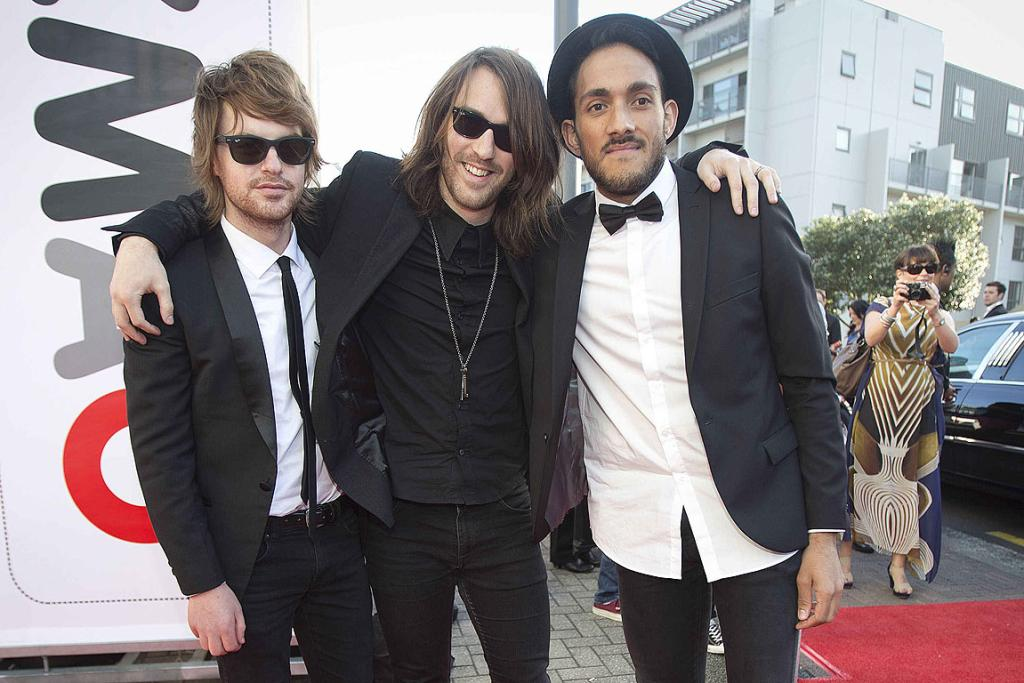 Members of Clap Clap Riot arrive at the 2012 New Zealand Music Awards.