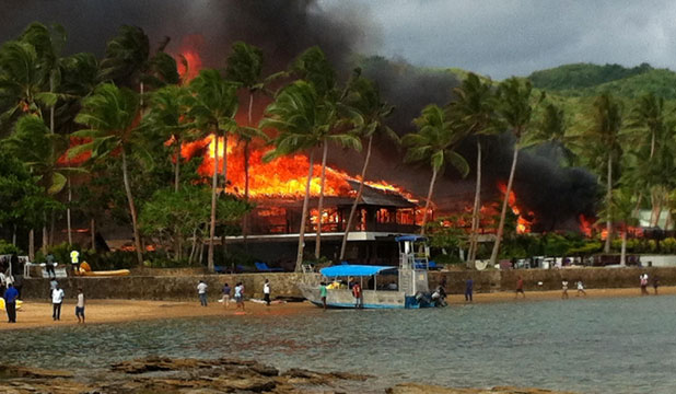 GUESTS EVACUATED: Naviti Resort, on Fiji's Coral Coast, in flames.
