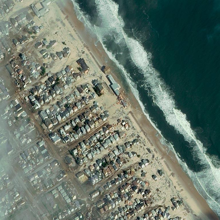 The community of Seaside Heights, New Jersey, is seen in the aftermath of Hurricane Sandy in this satellite image.