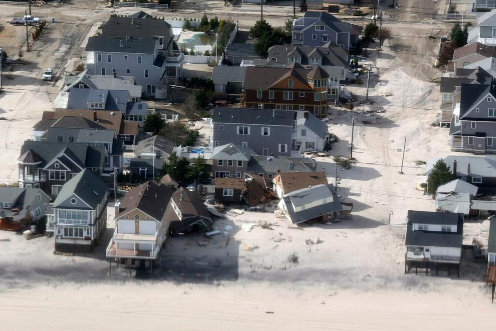 An aerial view of the storm damage over the Atlantic Coast is seen in the aftermath of Hurricane Sandy in Seaside Heights, New Jersey.