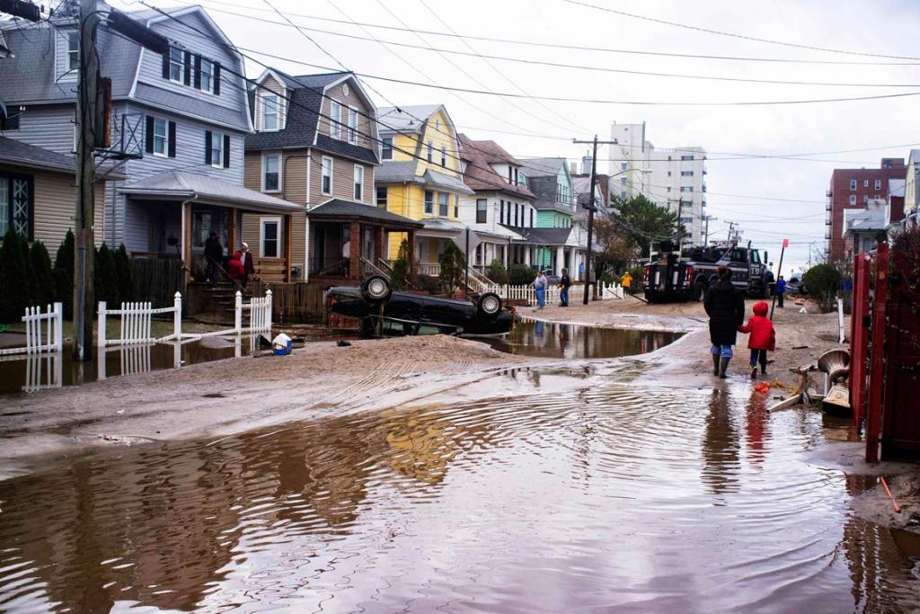 A street in Queens, New York  in the aftermath of the storm Sandy.